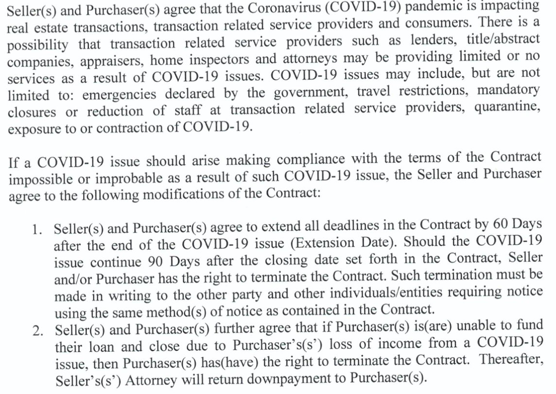 Amendment added to the contract