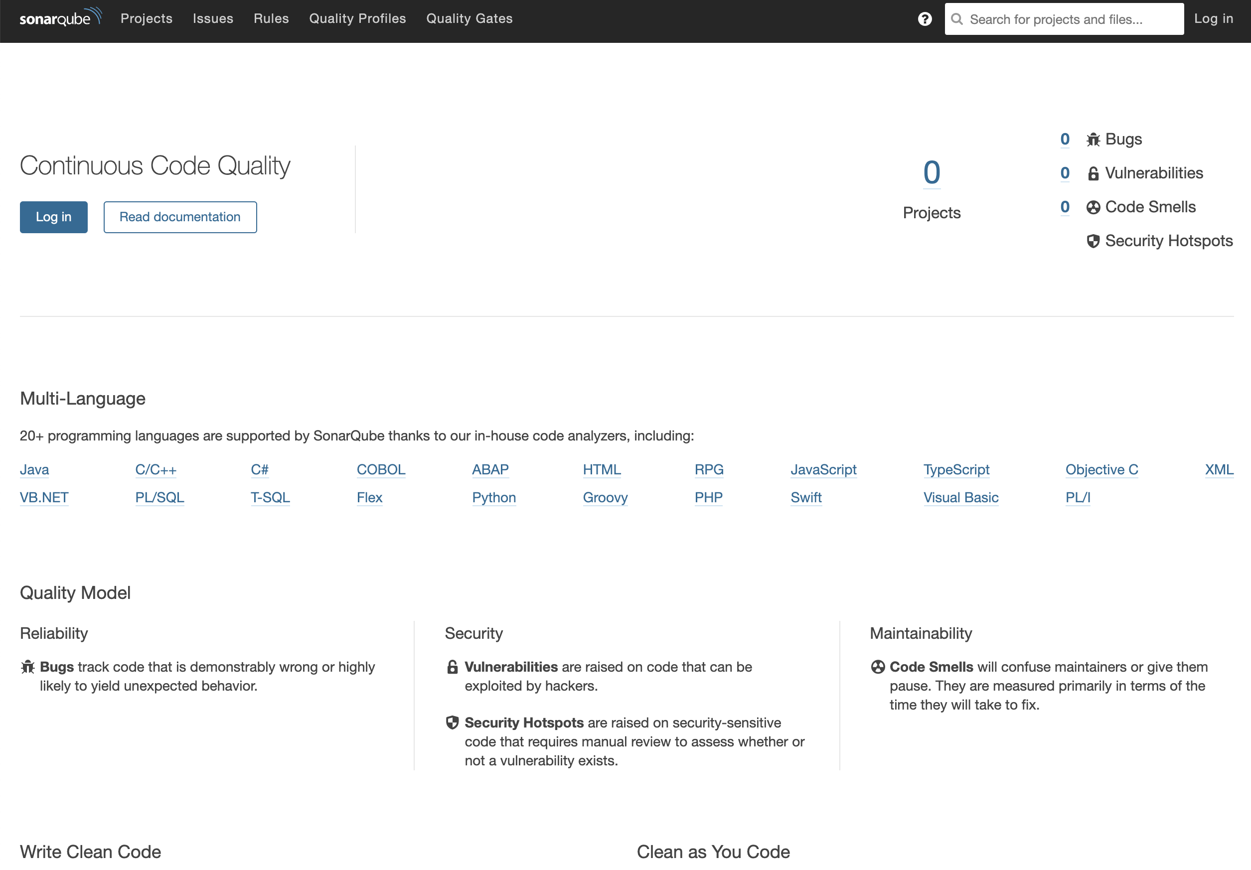 SonarQube Server Start Page